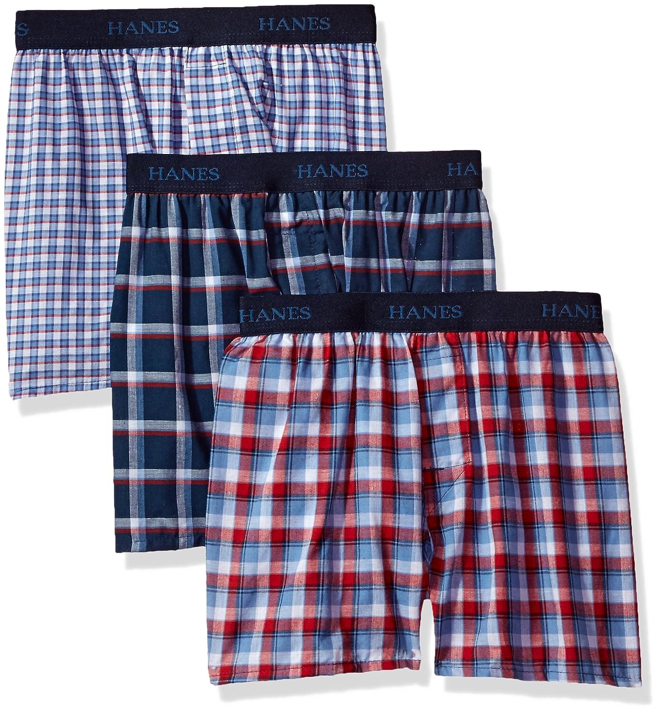 Hanes Big Boys Ultimate Comfortsoft Plaid Boxers 3 Pack Hanes Boys 8-20 Underwear BU835U