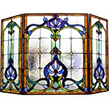 "Chloe Lighting Tiffany-Glass 3pcs Folding Victorian Fireplace Screen Wide, 44"""
