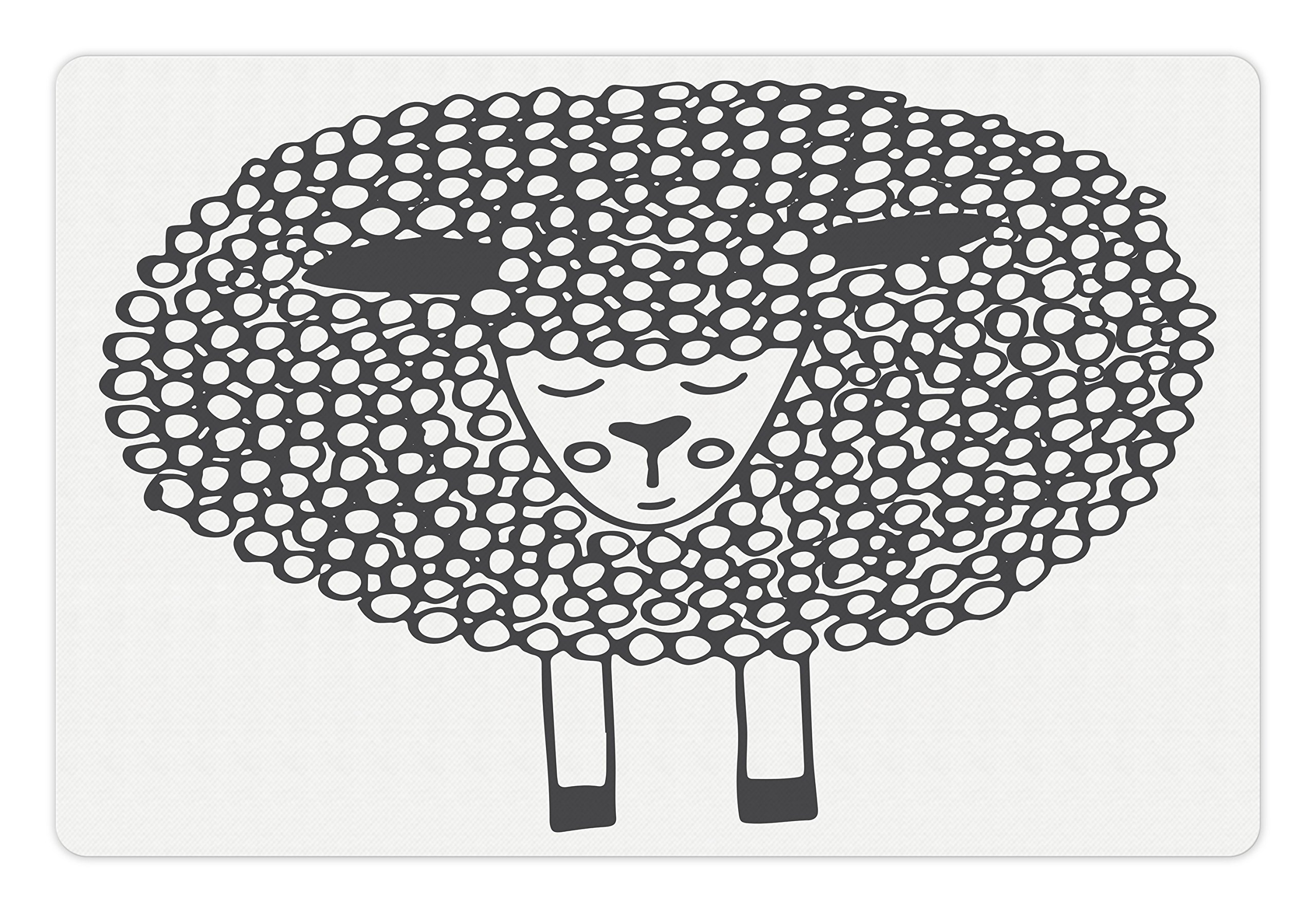 Ambesonne Grey and White Pet Mat for Food and Water, Monochrome Sheep with Doodle Design Farm Animal Illustration, Rectangle Non-Slip Rubber Mat for Dogs and Cats, Charcoal Grey and White