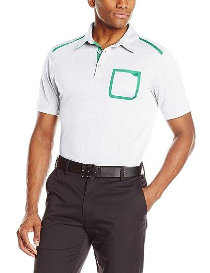 314722a5 adidas Golf Men's Golf Climacool Digital Mesh Polo Shirt, White/Bright  Green X-