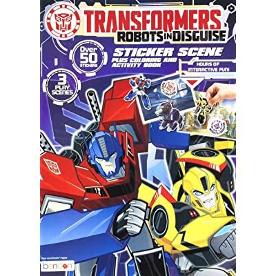 Bendon Transformers Sticker Scene Plus Coloring and Activity Book, 24 Pages (40920): Toys & Games