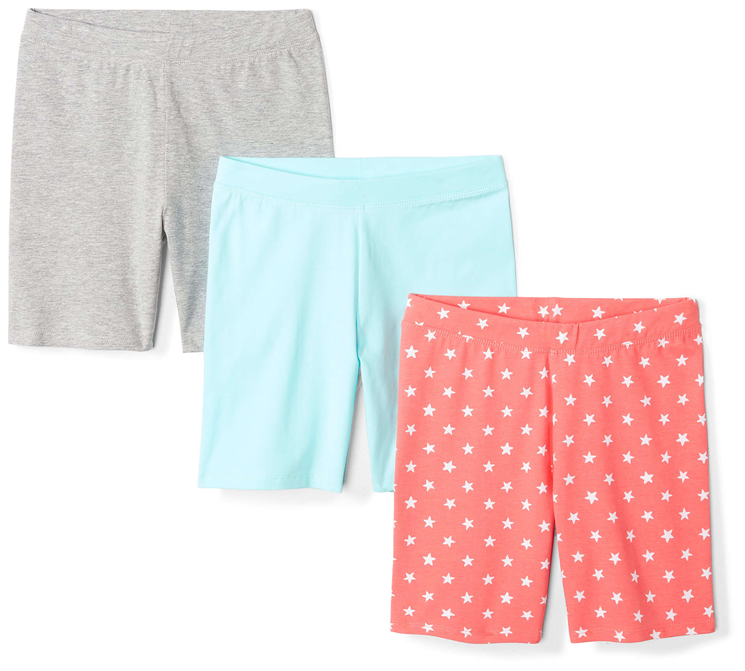 Spotted Zebra Toddler Girls' 3-Pack Bike Shorts, Coral Star, 4T