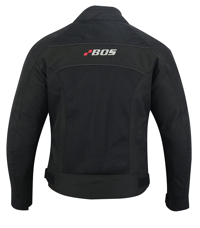 BOS Motorradjacke Herren Textil Wasserdicht Winddicht Mit Protektoren Multifunktional Schwarz L, Schwarz