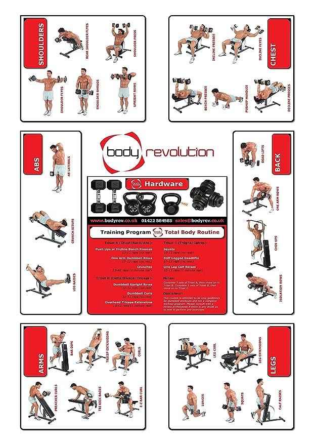 Cuerpo Revolution 30 kg juego de mancuernas guía de entrenamiento con el logotipo del teléfono de pared: Amazon.es: Deportes y aire libre