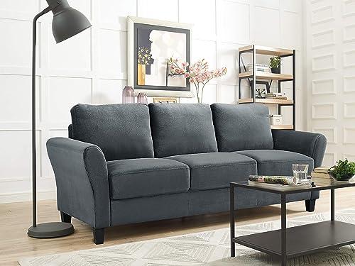 Lifestyle Solutions Alexa 3-Seat Rolled Arm Microfiber Sofa Dark Grey