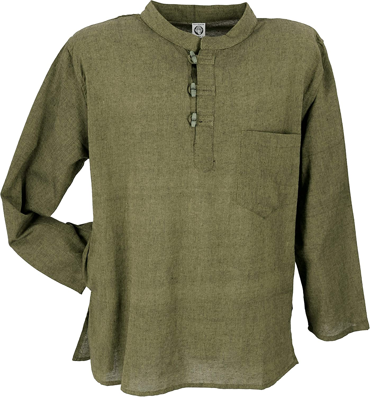 GURU-SHOP Camicia Nepal Fisher Goa Hippie Camicie da Uomo Dicotone