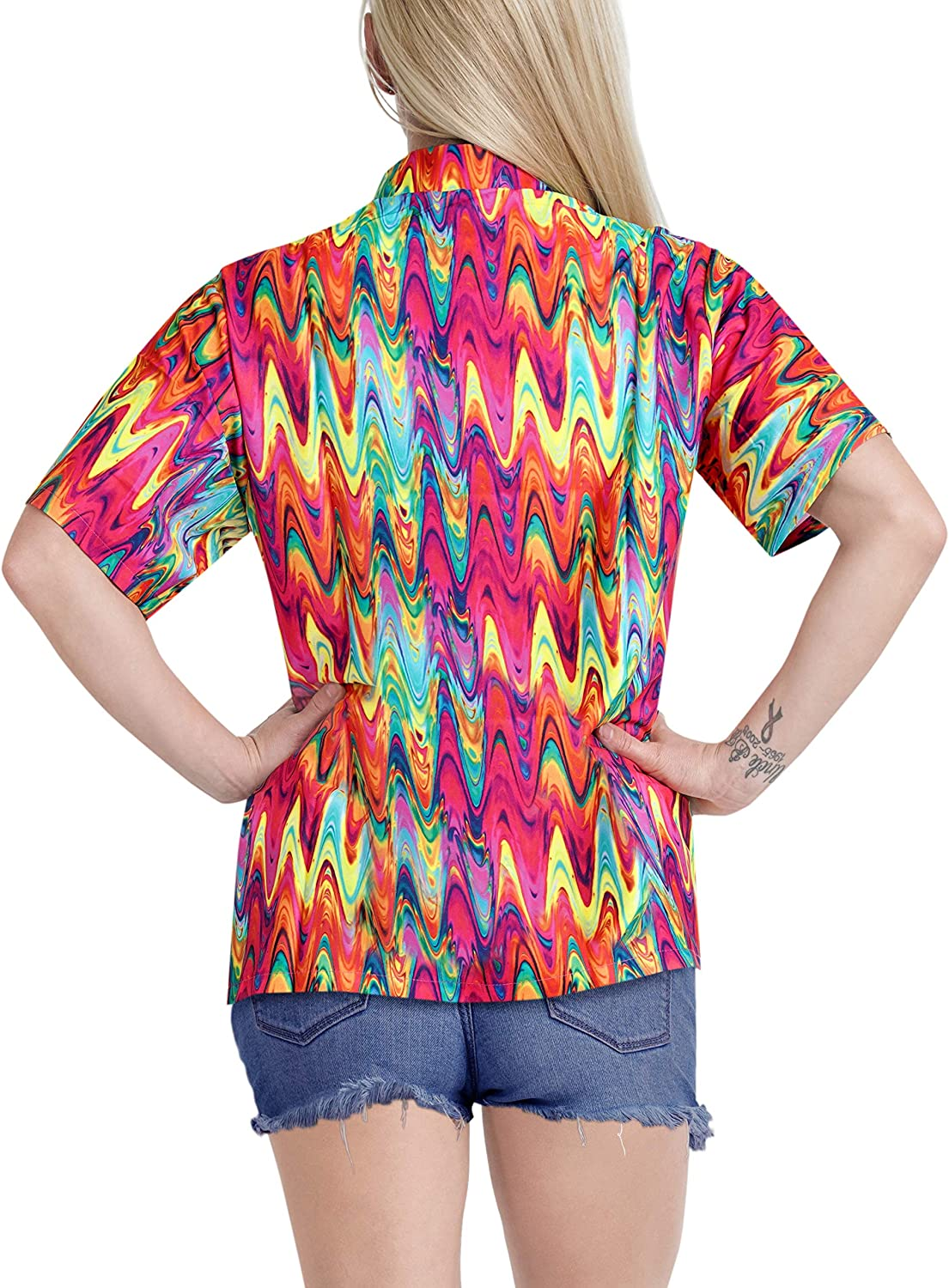 LA LEELA Womens Hawaiian Blouse Shirt Short Sleeves Nightwear Shirt Embroidered