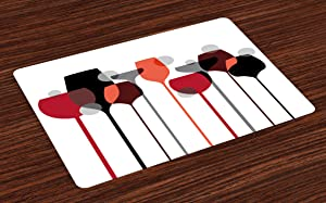 Ambesonne Wine Place Mats Set of 4, Stylized Abstract Wine Glasses Silhouettes with Dots Alcohol Drink Modern Artistic, Washable Fabric Placemats for Dining Room Kitchen Table Decor, Red Grey Black