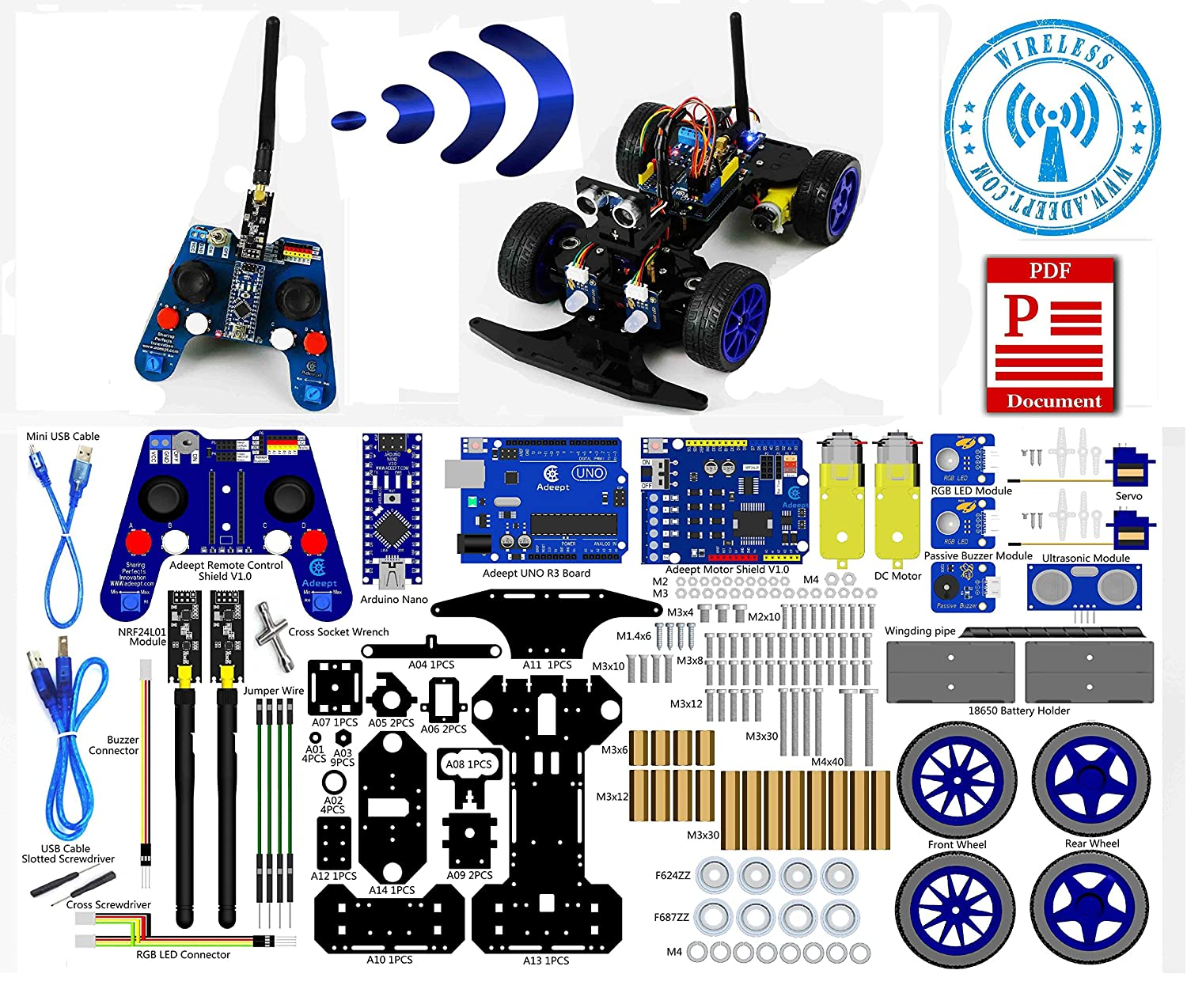Adeept Smart Car Kit For Arduino Remote Control Based On Stepper Nrf24l01 24g Wireless Robot Starter Robotics Model Learning With