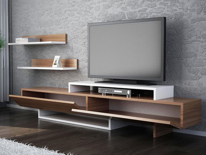 LaModaHome - Unidad de soporte para TV – Madera marrón blanco útil moderno y elegante soporte de almacenamiento multifunción organiza la decoración de la casa – Muebles para el hogar, oficina, sala