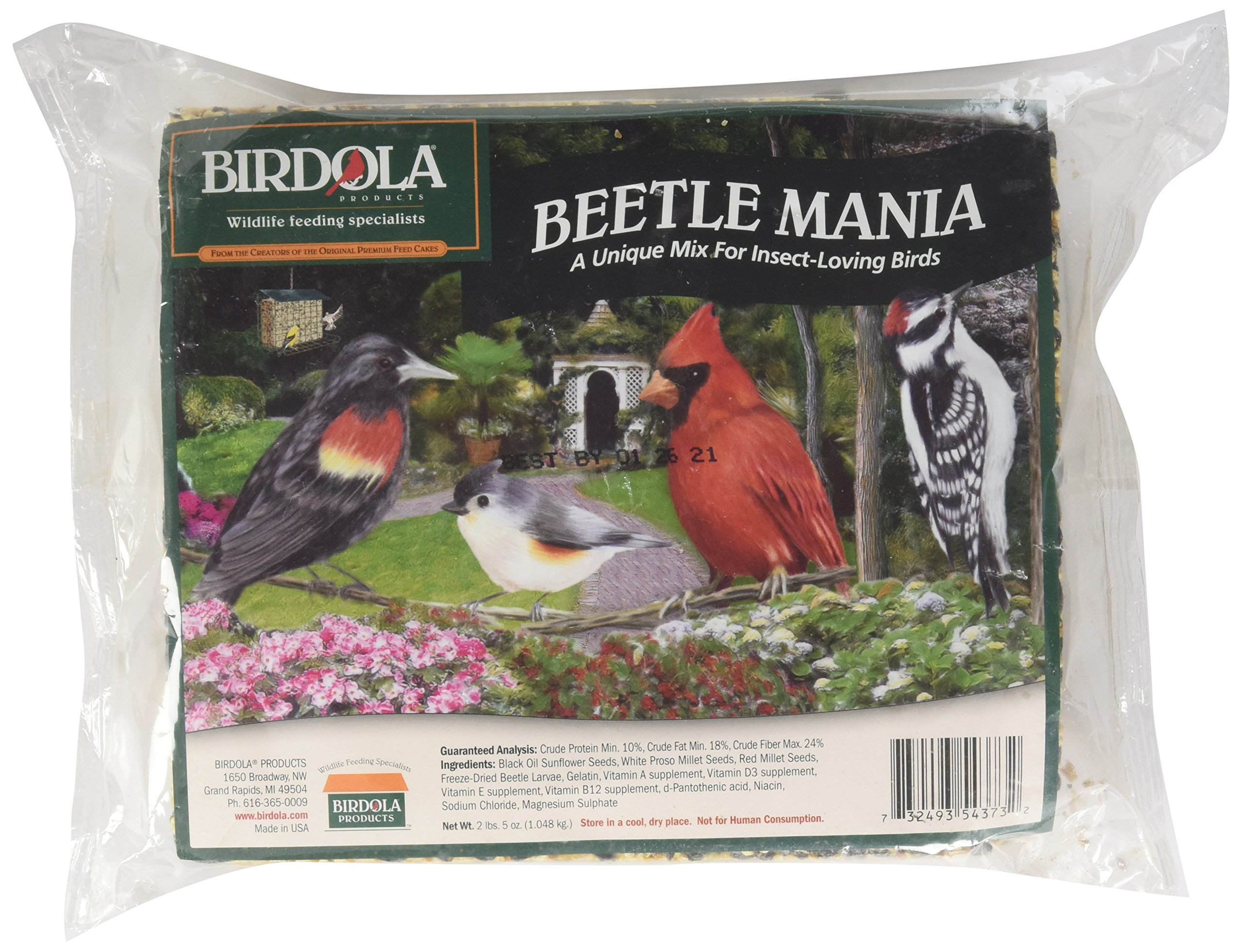 Birdola Beetle Mania Seed Cake 2.2 Pounds, For Insect-Loving Wild Birds