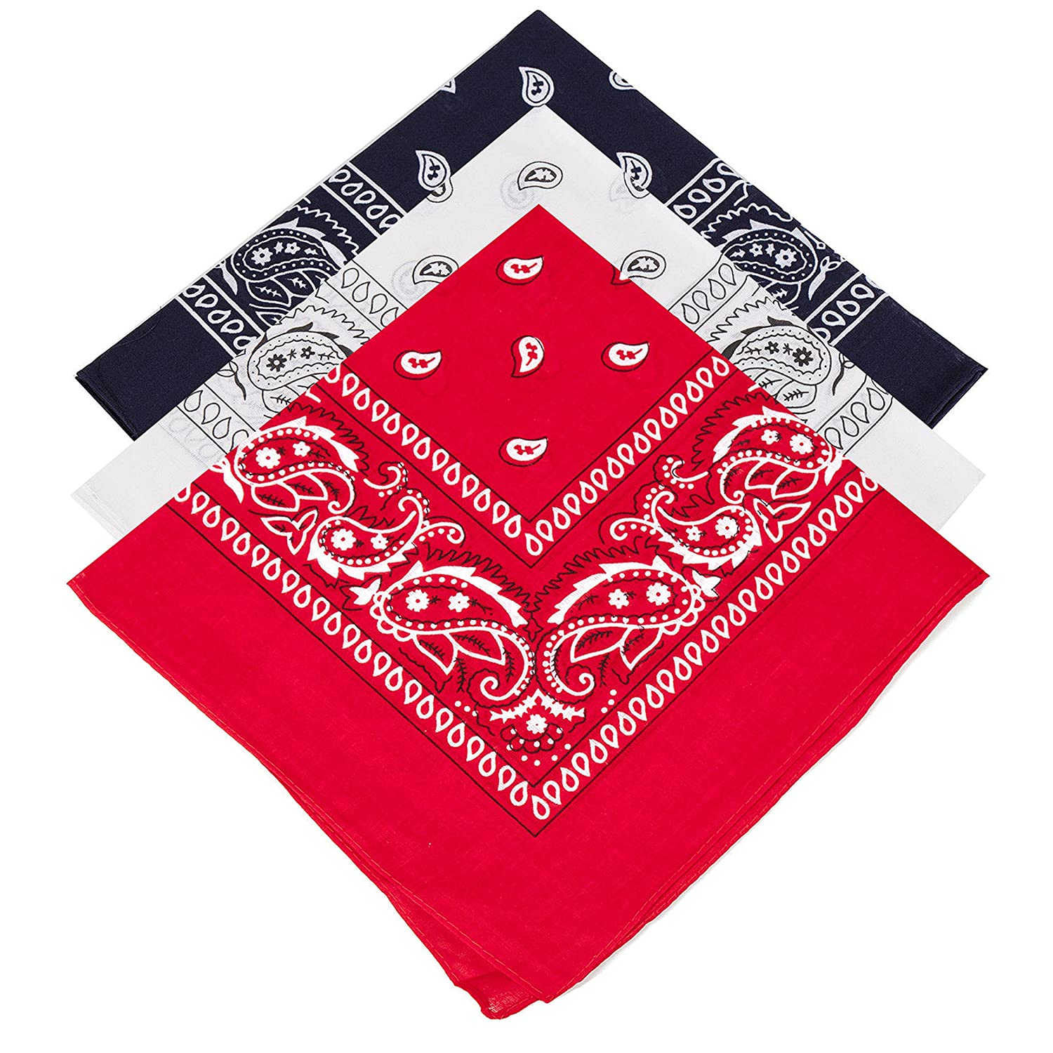3 Unisex Paisley Bandanas Red Navy White
