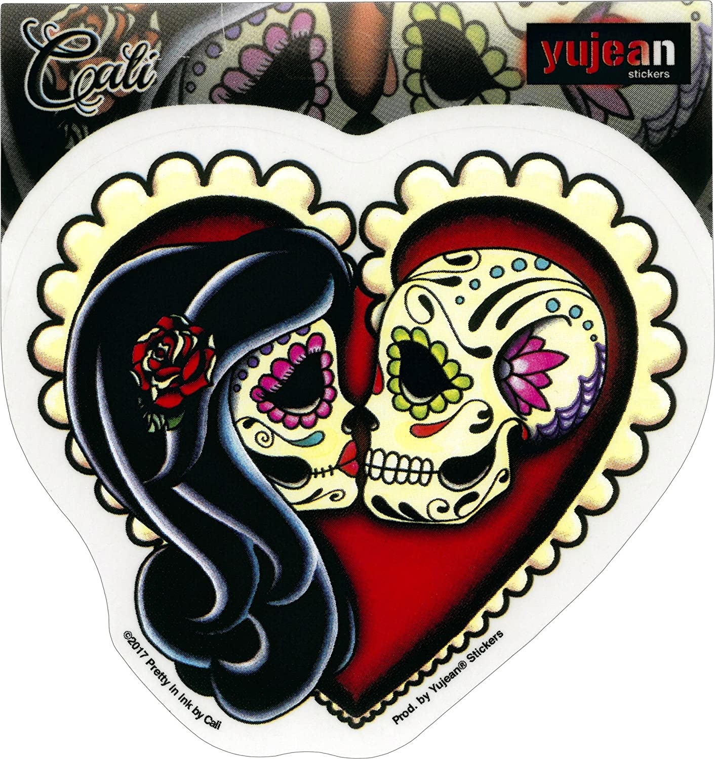 Sticker DECAL Officially Licensed /& Trademarked Products vikJA731 Cali Ashes Red Heart An Embracing Couple 4.75 x 4.25