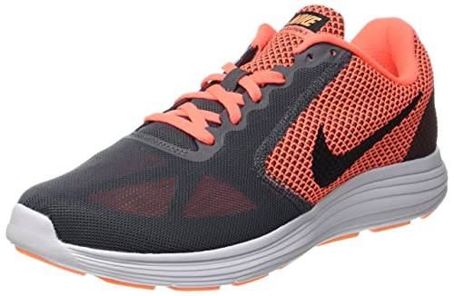 17d5f9b8cea9f0 Nike Women s WMNS Revolution 3 Grey Bk-Mango Running Shoes-4 UK ...