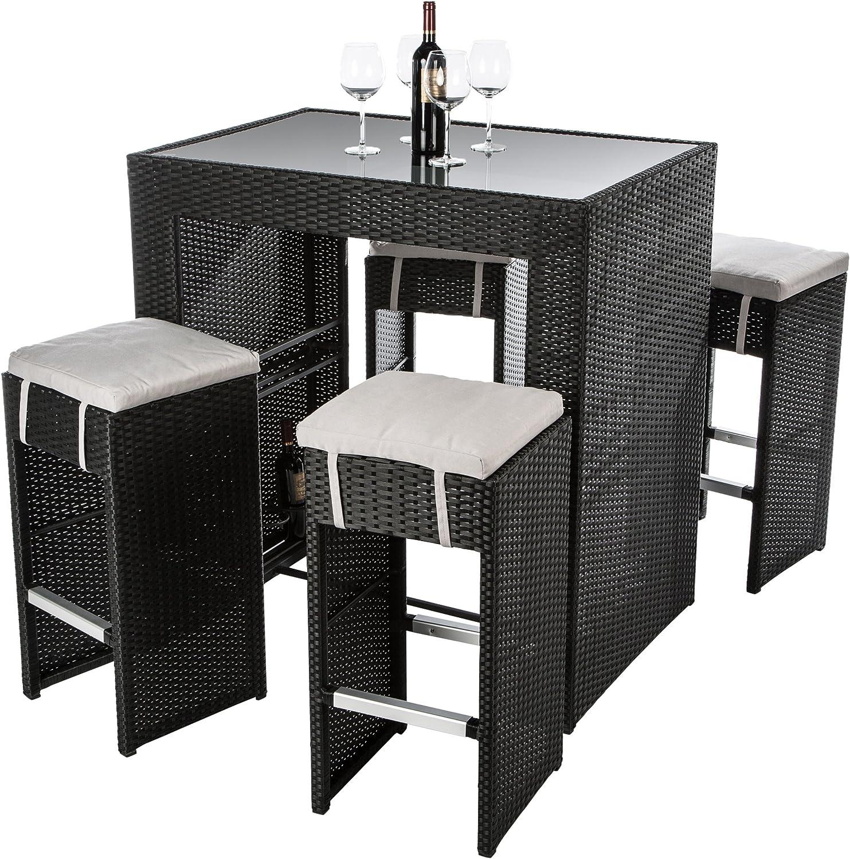 Ultranatura Conjunto de Mueble de Ratán Alto Palma, Mueble de Jardín con Estante para Botellas y Cuelga Copas Integrados, Mesa con 4 Taburetes Altos: Amazon.es: Jardín