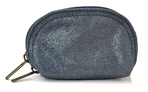Lae In - Monedero de Piel Mujer, (Bleu type jean (irisé)), S ...