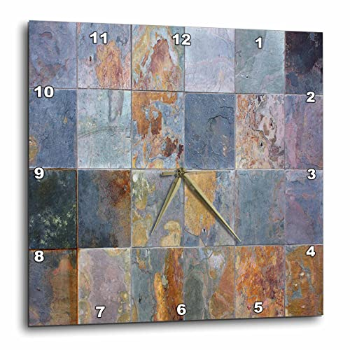 3dRose Yves Creations Rusted Tile Wall Clock, 10 by 10-Inch
