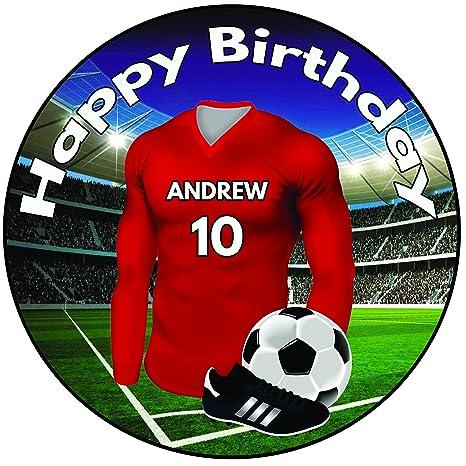 Peachy Personalised Football Birthday Cake Topper 8 Round Icing Birthday Cards Printable Nowaargucafe Filternl