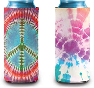 Slim Can Cooler | Skinny Can Cooler for 12oz Drink | Perfect for Skinny Spiked Hard Seltzers and Energy Drinks | Pasel Tie Dye & Peace Sign