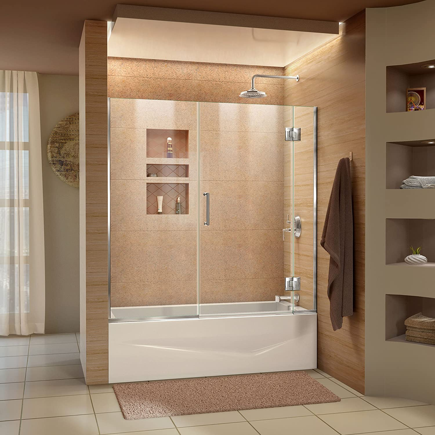 DreamLine Unidoor-X 58-58 1 2 in. W x 58 in. H Frameless Hinged Tub Door in Chrome, D58580-01