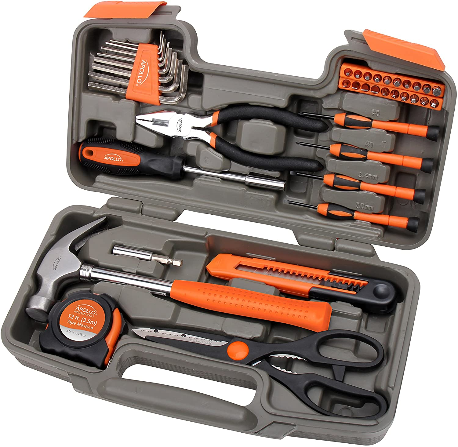 Apollo Tools Original 39 Piece General Household Tool Set in Toolbox Storage Case with Essential Hand Tools for Everyday Home Repairs