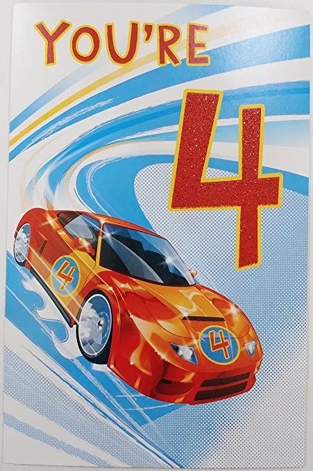 Racing By With Greetings For A BOY Whos Turning Four