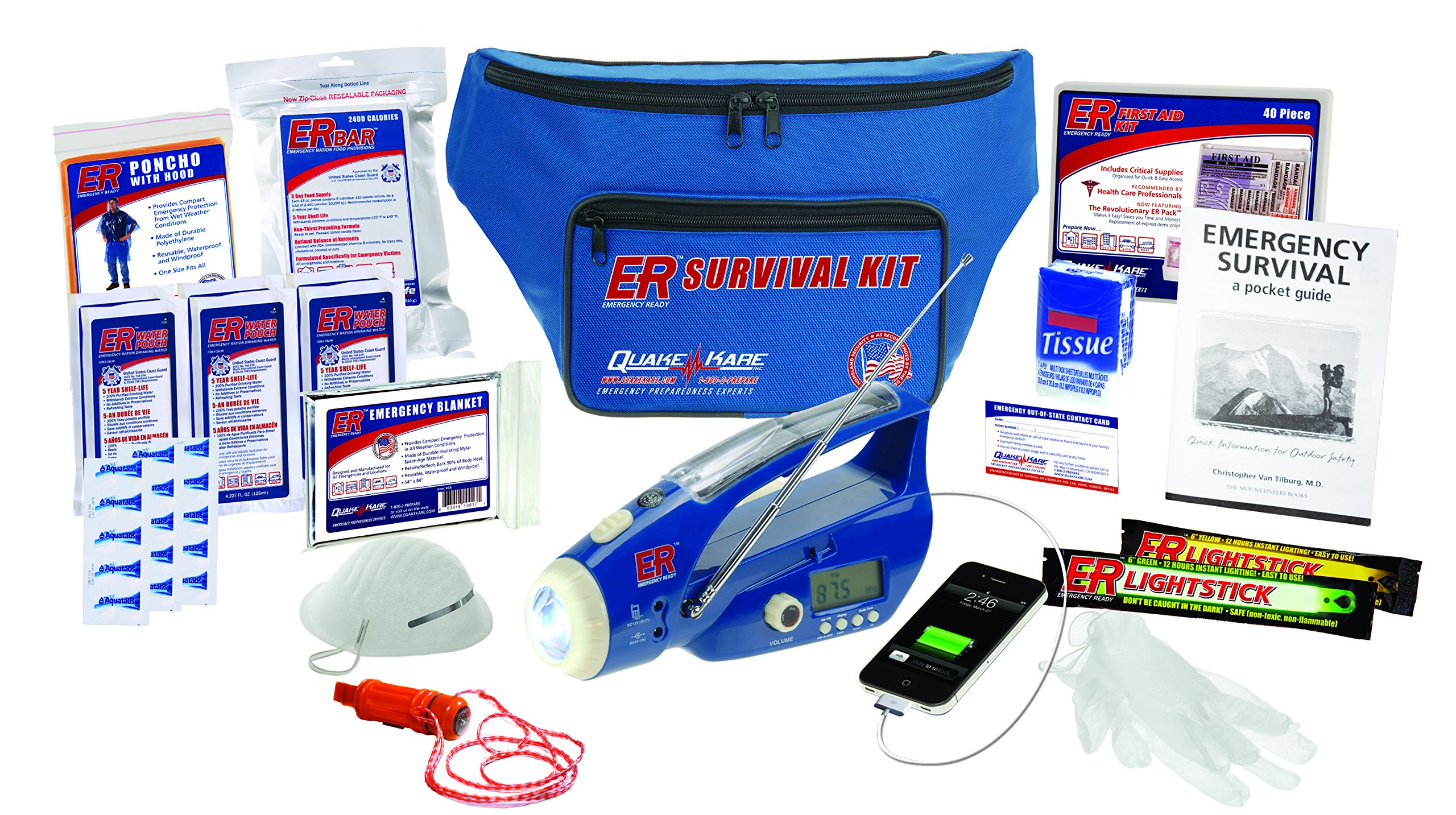 ER Emergency Ready SK1DD 1-Person Deluxe Fanny Pack Survival Kit by ER Emergency Ready