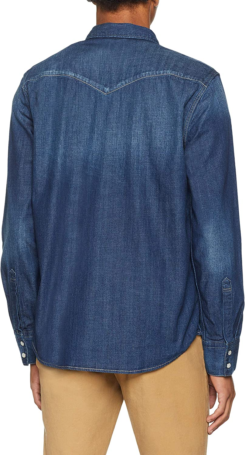 Levi's Men's Barstow Western Slim Fit Long Sleeve Casual Shirt Blue (Carbon Dark 0233)
