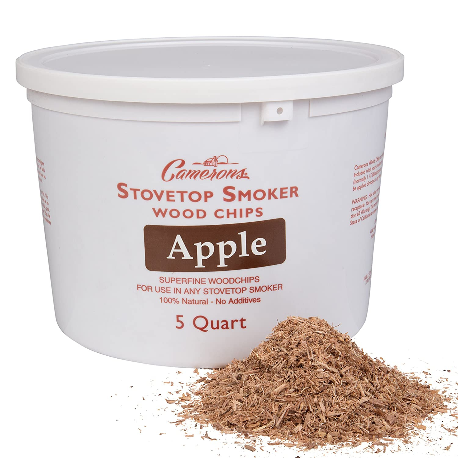 Camerons Smoking Chips - (Apple) Kiln Dried, 100 Percent Natural Extra Fine Wood Smoker Sawdust Shavings - 5 Quart Barbecue Chips