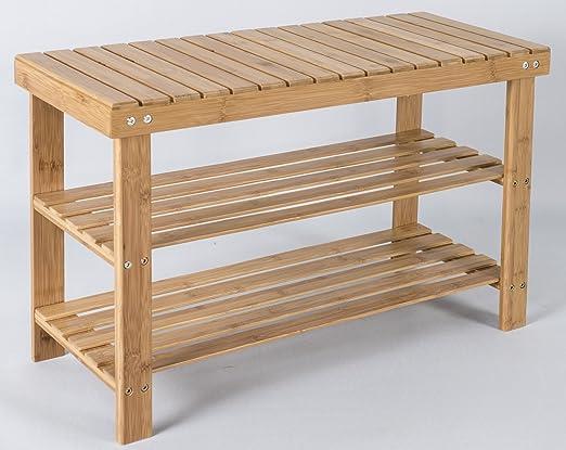 elbm/öbel.de in legno e bamb/ù Marrone Scaffale da bagno con 3 ripiani regolabili in altezza