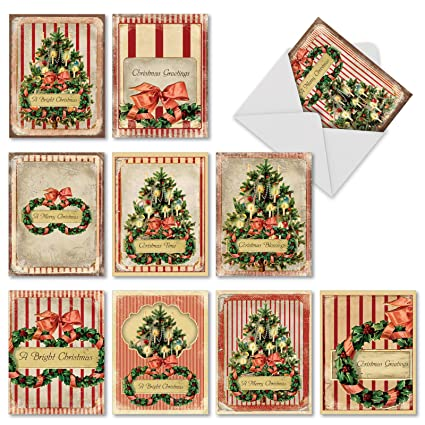 Vintage Christmas Card.10 Assorted Holiday Memories Christmas Cards With Envelopes 4 X 5 12 Inch Cards With Vintage Christmas Trees And Greenery Boxed Greeting Cards For