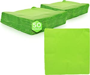 """Amcrate Big Party Pack 50 Count Kiwi Green Dinner Napkins Tableware- Ideal for Wedding, Party, Birthday, Dinner, Lunch, Cocktails. (7"""" x 7"""")"""