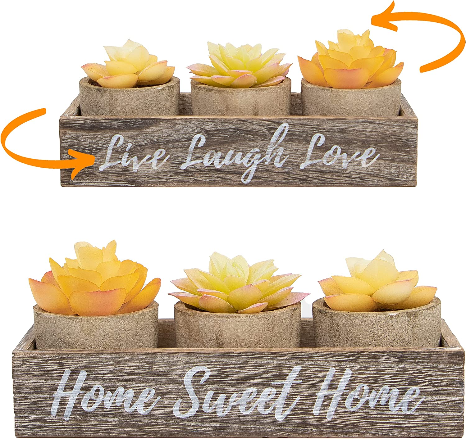 3 Artificial Succulent Plants with Pots with Rustic Planter Box – Home Sweet Home & Live Laugh Love Realistic Greenery Mini Faux Plant for Home Decor Office Table Bathroom Kitchen Dorm - Yellow