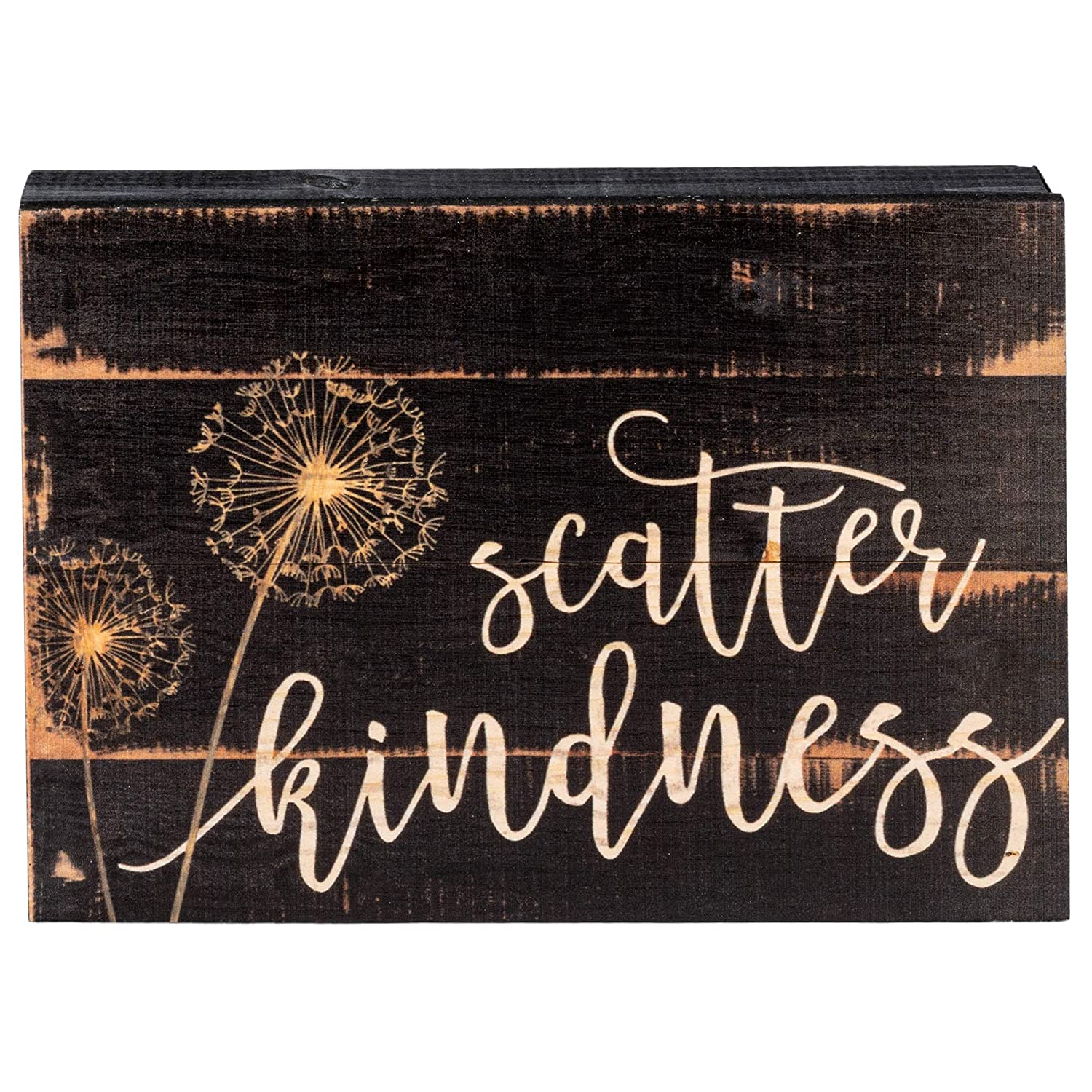 P. Graham Dunn Scatter Kindness Dandelion Black 10 x 7 Inch Solid Pine Wood Boxed Pallet Wall Plaque Sign