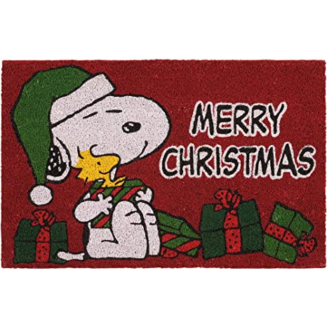 peanuts merry christmas outdoor accent coir doormat snoopy and woodstock holiday decoration - Snoopy Merry Christmas Images