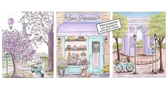 Paris Bedroom Decor Purple Teal Travel Themed Nursery, Set Of 3,  Personalized, 6