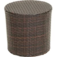 Noble House Brown Wicker Barrel Side Table