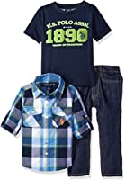 U.S. Polo Assn. Boys' 3 Piece Long Sleeve Shirt, T-Shirt, and Denim Jean Set