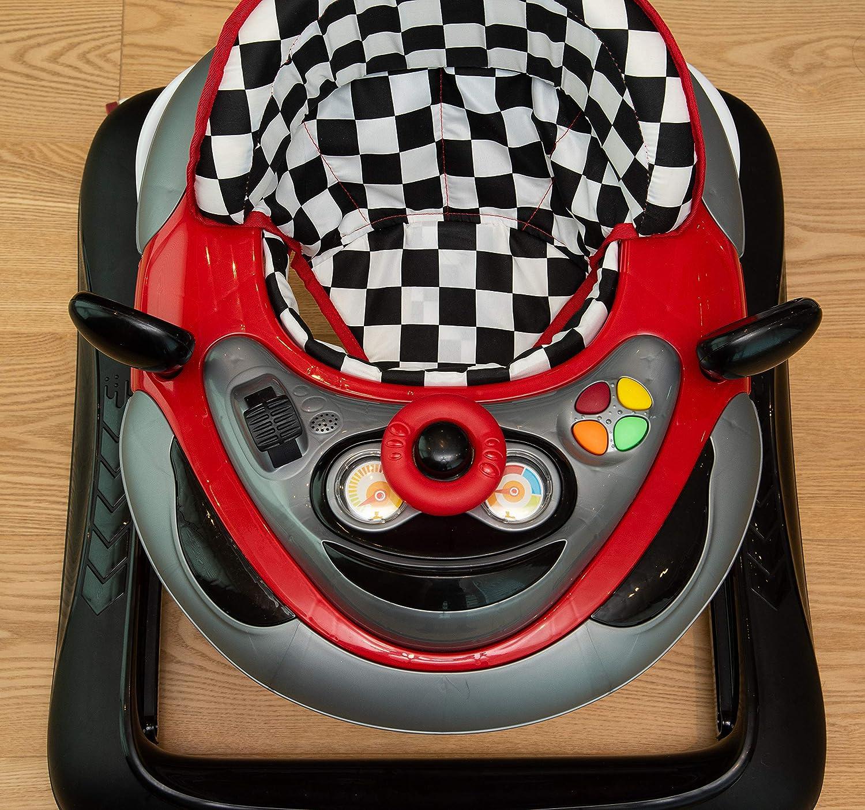 Girello a norma START con piatto giochi luci e suoni rosso e nero pratico leggero e colorato regolabile in altezza adatto dai 6 mesi circa ai 12 kg