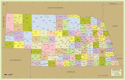 Amazon Com Nebraska County With Zip Code Map 48 W X 31 H