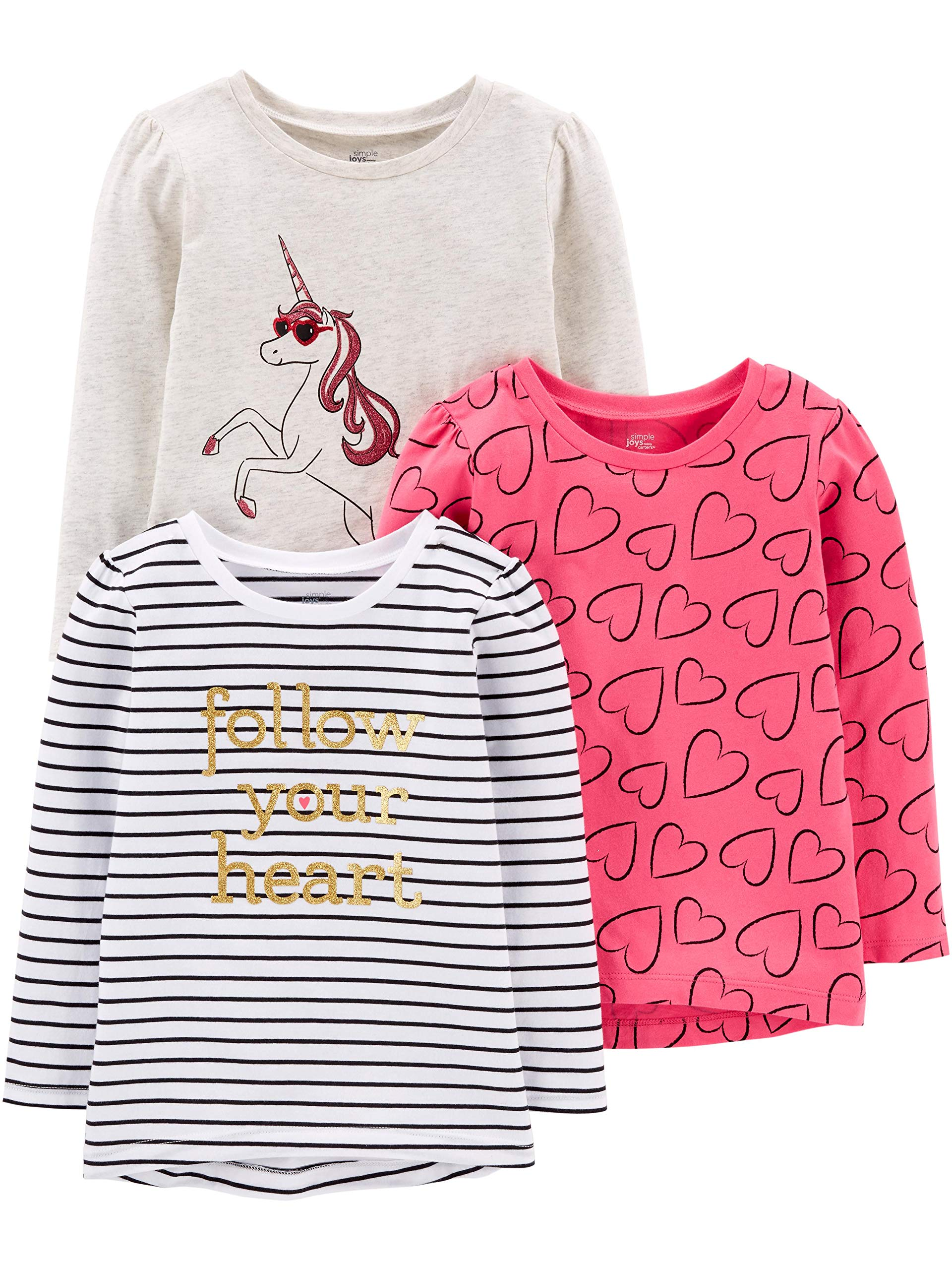 Simple Joys by Carter's Girls' Toddler 3-Pack Graphic Long-Sleeve Tees, Unicorn/Heart/Stripe, 4T by Simple Joys by Carter's