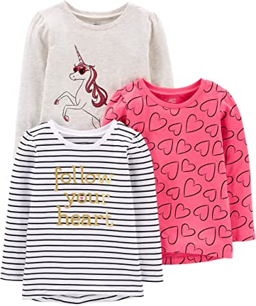 Simple Joys by Carter's Girls' Toddler 3-Pack Graphic Long-Sleeve Tees