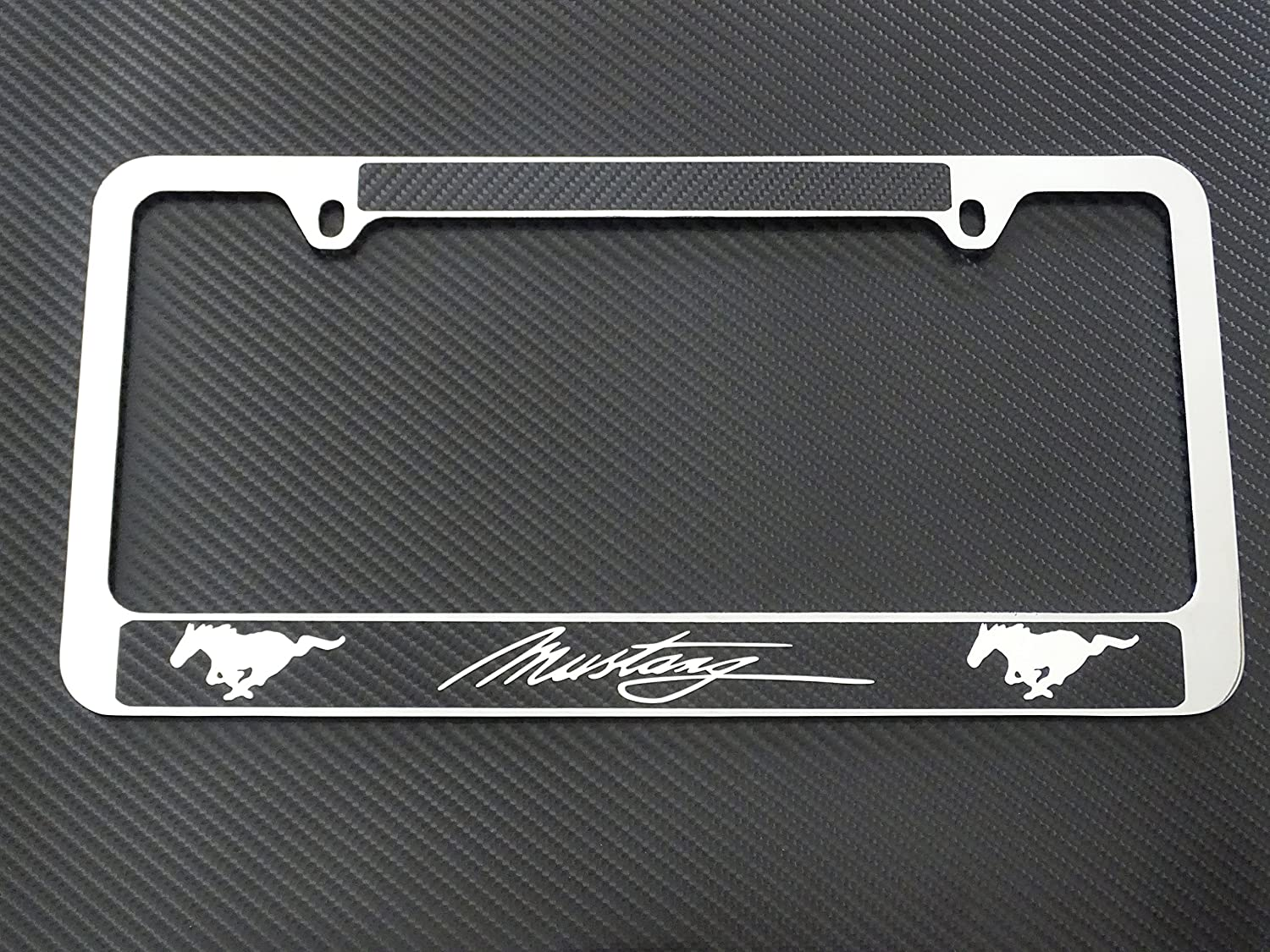 Amazon com ford mustang license plate frame chrome metal carbon fiber details automotive