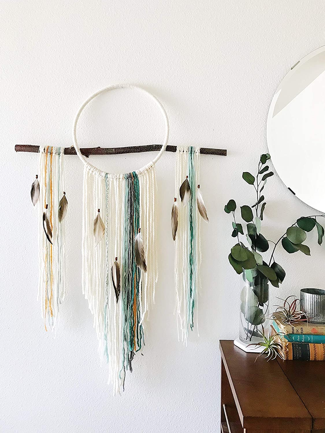 macrame wall art hanging in a home