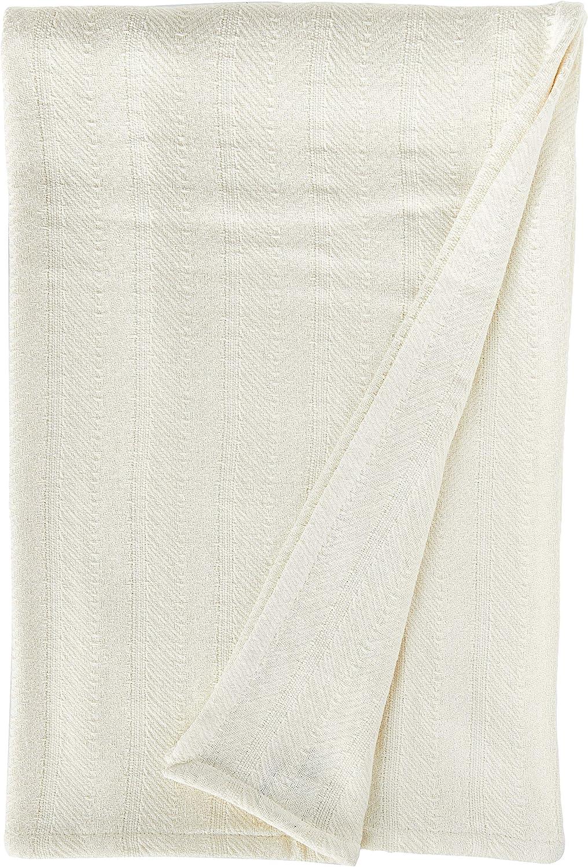 Eddie Bauer Herringbone Cotton Blanket, Full/Queen, Bone