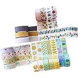Paquete de cintas adhesivas Washi - Juego de 20 rollos de cintas adhesivas decorativas con diseños exclusivos - con brillantina, con decoraciones de flores y de papel aluminio - MozArt Supplies