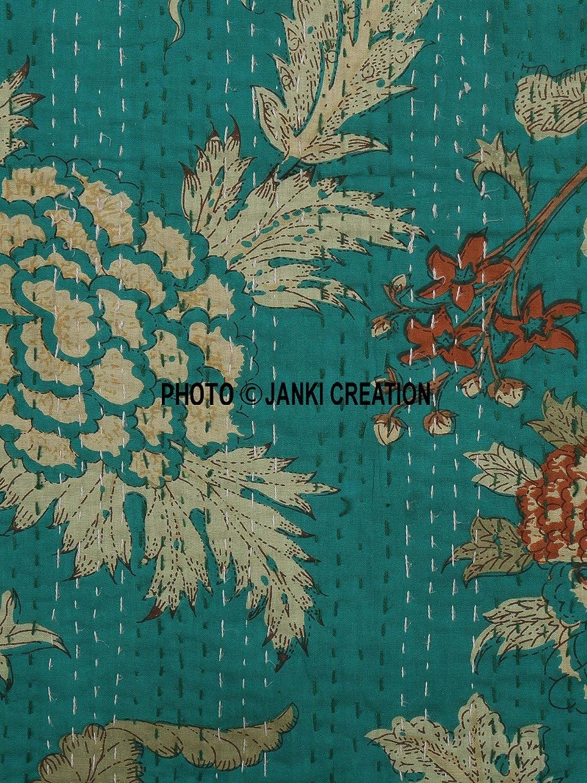 Bohemian Parure de lit Couette Janki Creation Indien Imprim/é Floral Kantha Bohemian Couvre-lit Souple 90/x 108 AC AC Doudou Couverture Kantha
