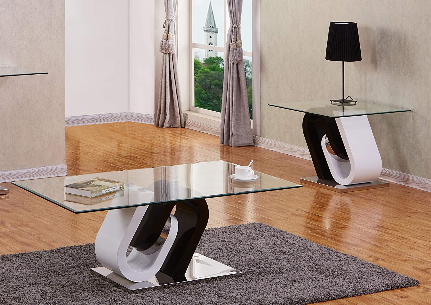 Amazon Com Best Quality Furniture Modern Coffee Table Set Black