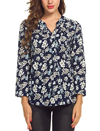 fbd0711ae Meaneor Women Casual V Neck Cuffed Sleeve Floral Print High Low Hem Blouse  Tops,Small