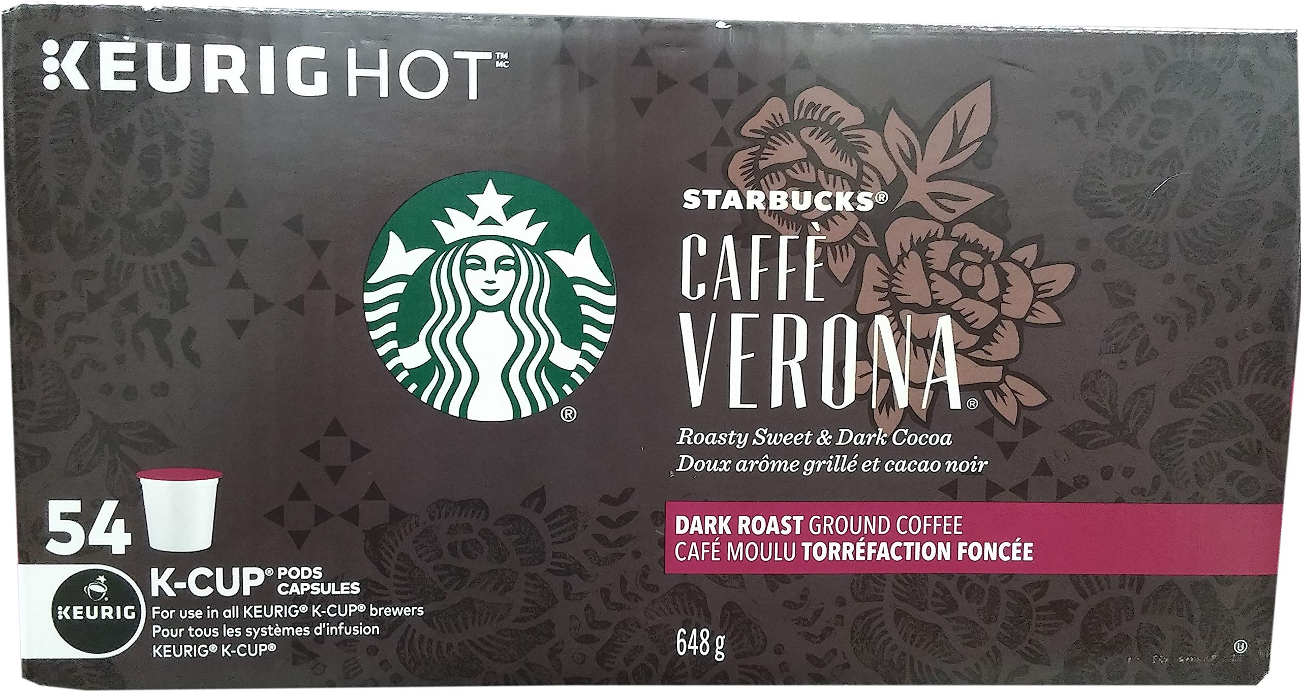 Starbucks Caffe Verona, Dark, K-Cup Portion Pack for Keurig K-Cup Brewers 54-Count by Starbucks